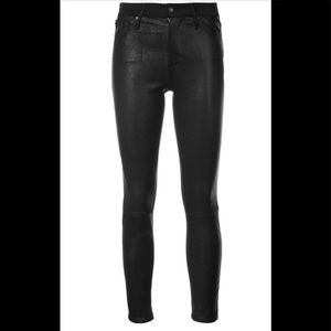 NWT AG The Farrah Skinny Ankle Leather Black Jeans